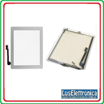 TOUCH SCREEN + VETRO APPLE IPAD 4 - IPAD4 BIANCO PER 3G WIFI COMPLETO DI TASTO HOME E ADESIVO